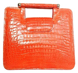 Other Crocodile Alligator Clutch Tote in Orange