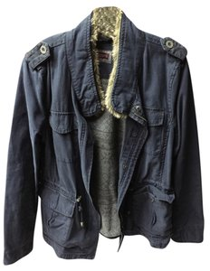 Levi's Faux Fur Collar Cotton Military Style Comfortable Lightweight Warm Classic Dress Up Wear Casual Navy Blue Jacket
