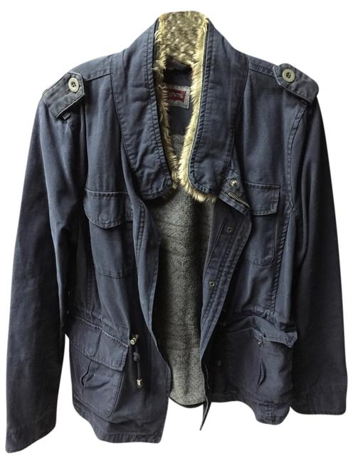 Preload https://item5.tradesy.com/images/levi-s-navy-blue-cotton-with-faux-fur-collar-size-12-l-9915244-0-1.jpg?width=400&height=650