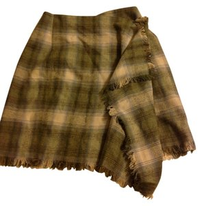 Anne Klein Flat Front Above Knee Lined Skirt plaid