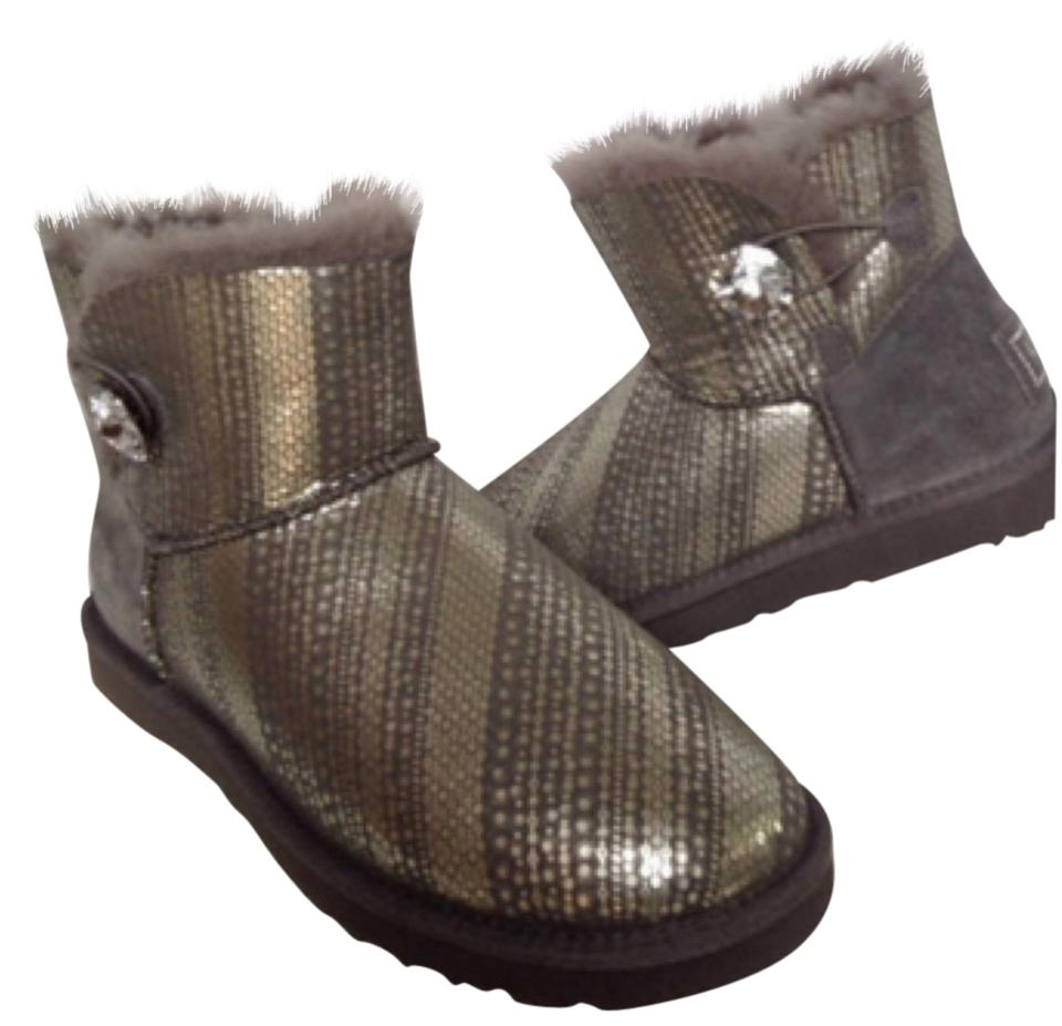 5f81eab985b UGG Australia Gray and Silver Mini Bailey Button Bling Boots/Booties Size  US 8 Regular (M, B) 46% off retail