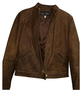 Armani Jeans Brown Leather Jacket