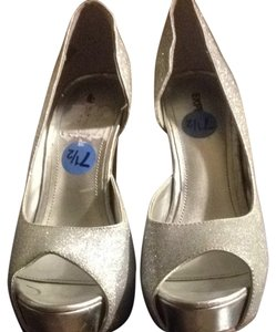 Express Silver Sparkle Pumps