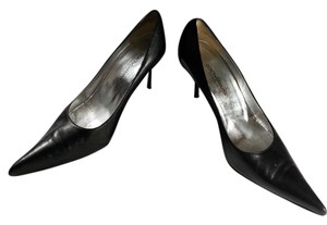 Dolce&Gabbana Sexy Soft Leather Silver Hardware Black Leather Pumps