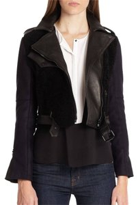 A.L.C. Shearling Wool Biker Felton Crop Leather Motorcycle Jacket