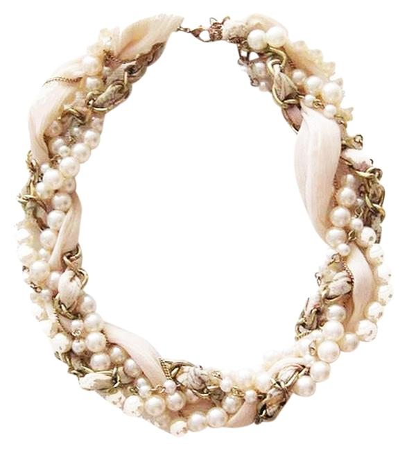 Item - Pink/Gold Girly Pearl Ribbon Chain Necklace