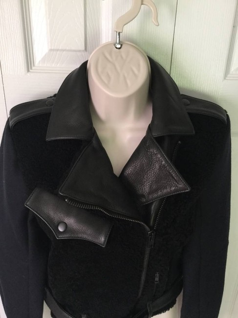 A.L.C. Shearling Wool Biker Felton Lamb Fur Leather Crop Motorcycle Jacket