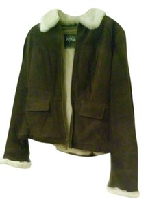 Wilson DARK BROWN WITH OFF WHITE CREME TRIM COLLAR AND CUFF Leather Jacket
