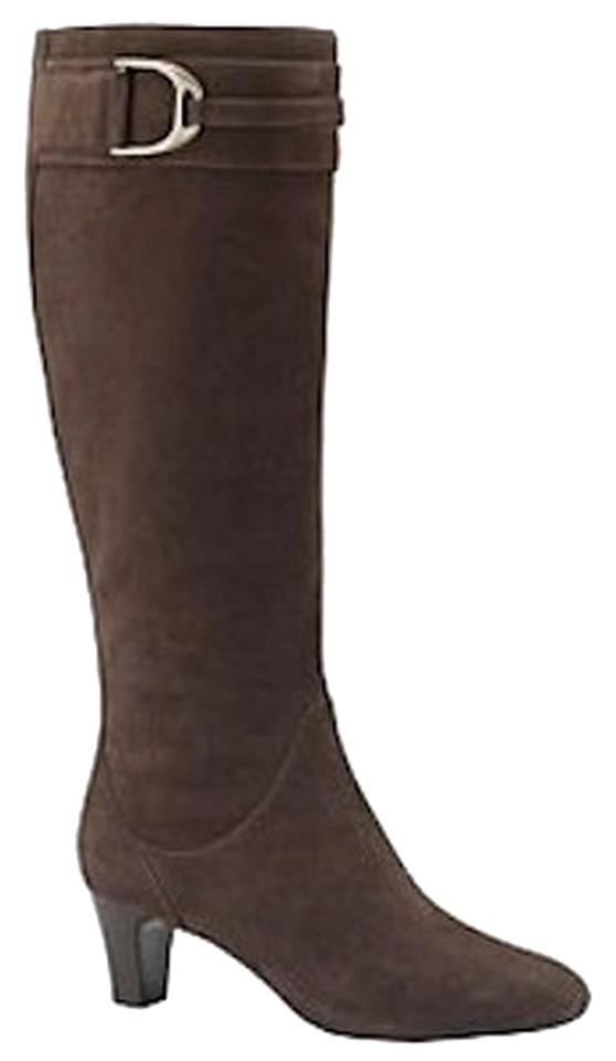 Cole Haan Dark Chocolate New Tall Suede Boots Booties Size US 7.5 ... 11696363f