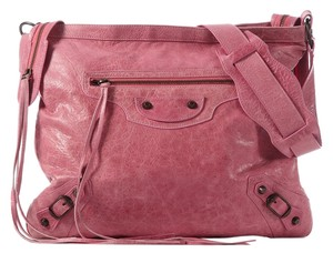 Balenciaga Bg.j1116.18 Pink Leather Flat Messenger Bag