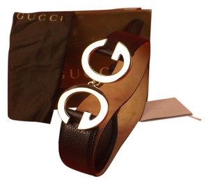 Gucci BLACK TEXTURE LEATHER GG LOGO SILVER BUCKLE BELT 95 38