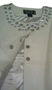 Sharif OFF WHITE WITH EMBELLISHMENTS ON COLLAR AND 3/4 SLEEVE SNAP CLOSURE HIDDEN BOTTONS Leather Jacket