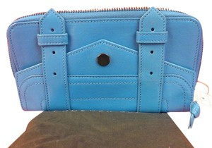 Proenza Schouler BLUE TEXTURE LEATHER PS1 LARGE ZIP CLUTCH WALLET