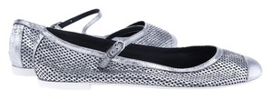 Chanel Perforated Leather Silver Flats