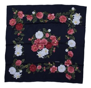 Chanel Chanel Black Silk Floral Scarf Square