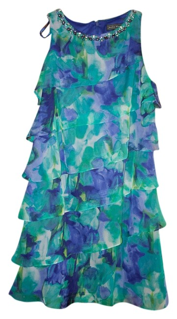 Jessica Howard Jeweled Neckline Never Worn Chiffon Ruffles Dress