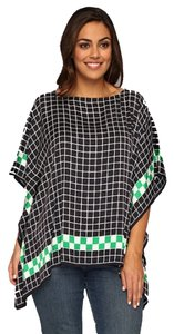 Michael Kors Navy Checker Checkered Flutter Scarf Top Blue