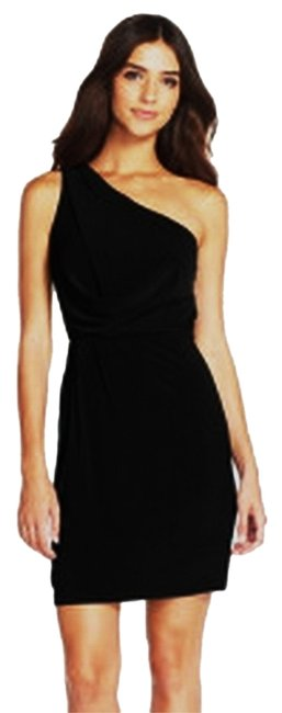 Preload https://item4.tradesy.com/images/adrianna-papell-black-lux-one-shoulder-embellished-ruffle-little-mini-night-out-dress-size-10-m-9919093-0-1.jpg?width=400&height=650