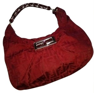 Fendi Zucca Print Large Red Hobo Bag