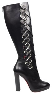 Christian Louboutin Lady Troop 37.5 Buckle Tall Black Boots