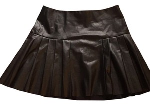Twelfth St. by Cynthia Vincent Leather Pleated Nye Newyears Mini Skirt Black