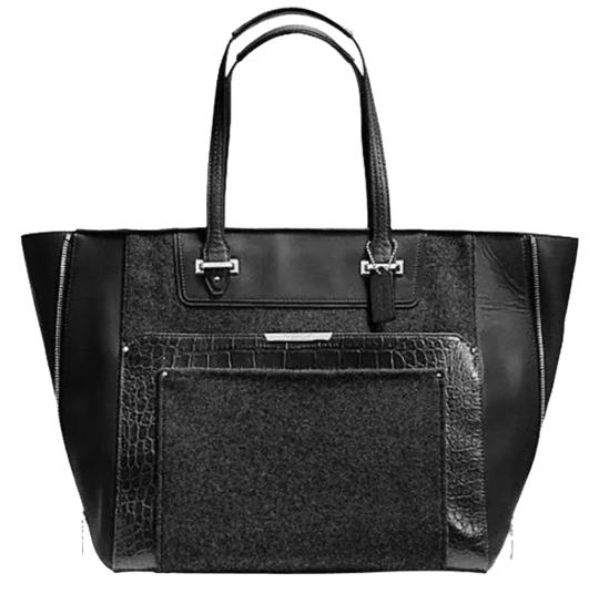 Preload https://item3.tradesy.com/images/coach-taylor-croc-black-leather-and-wool-tote-9920062-0-1.jpg?width=440&height=440