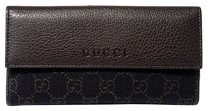 Gucci GUCCI 143389 Dark Brown Denim GG Guccissima Bifold Women's Wallet