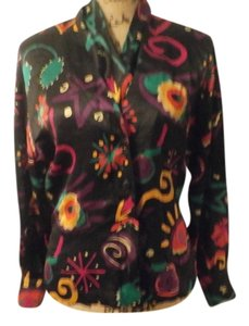 Escada Vintage Red Silk Top multi-color