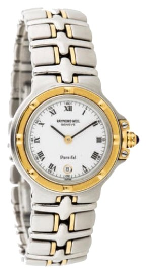 Preload https://img-static.tradesy.com/item/9921256/raymond-weil-white-face-black-roman-numerals-and-hands-stainless-steel-and-yellow-gold-parsifal-mode-0-1-540-540.jpg