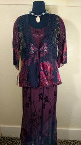 Wine 3 Piece Set Poly Rayon Blend Modest Bridesmaid/Mob Dress Size 10 (M)
