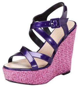 Barbara Bui Leather Electric Purple Patent Wedges