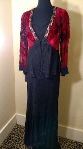 Burgandy/Black 2 Piece Set Poly Rayon Blend Modest Bridesmaid/Mob Dress Size 6 (S)