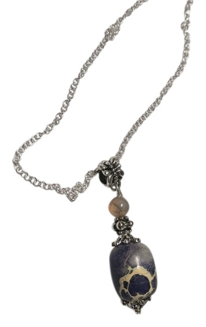 Purple Beige Silver Jasper Stone Sterling Chain A018 Necklace Purple Beige Silver Jasper Stone Sterling Chain A018 Necklace Image 1