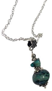 Turquoise Stone Necklace Sterling Silver Chain n218