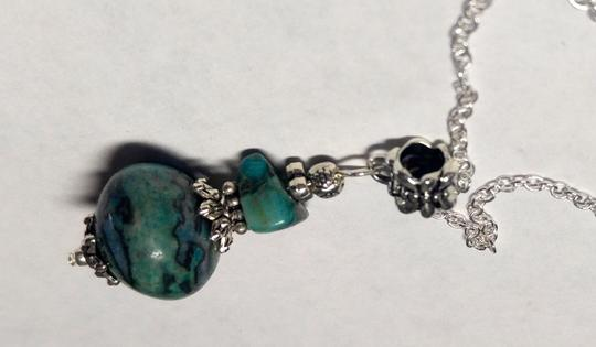 Other Turquoise Stone Necklace Sterling Silver Chain A017