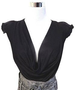 Robert Rodriguez Draped Pads Cap Sleeve Cowl Neck Top Black