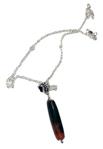 Other Purple and Green Agate Stone Necklace Sterling Silver Chain A019