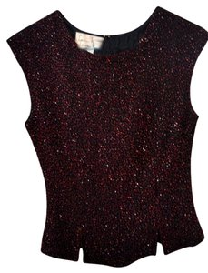 Laurence Kazar Vintage Embellished Beaded Top black and red