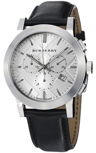 Burberry Burberry The City Men Watch 42 mm Chronograph Steel Silver Dial Black Leather BU9355