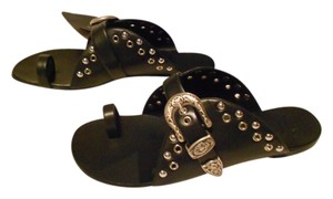 Giuseppe Zanotti Western Design Studded Fashionable Made In Italy Black Sandals