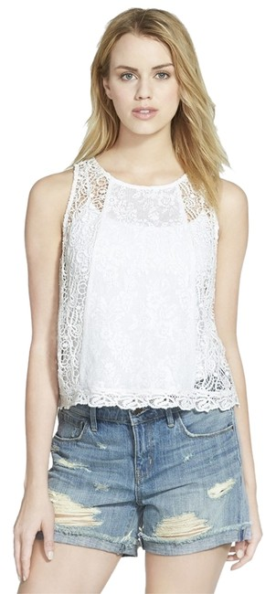 Preload https://img-static.tradesy.com/item/9926704/hinge-white-lace-shell-blouse-size-8-m-0-1-650-650.jpg