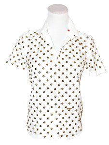 Dsquared2 $650 Italy Gold Pins Women Shirt Size Small Top white