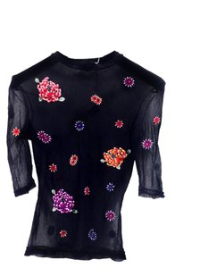 Vivienne Tam Boho Chic Sheer Knit Netted Stretchy Mutli-colored Embroidered Premium Luxury Chic Hippie Top Black with multi-color flowers