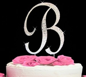 Silver Rhinestone Crystal Monogram Letter B Free Shipping Cake Topper