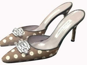 Manolo Blahnik Brown With Brown/white Polka Dots Mules