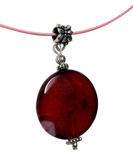 Other Agate Pendant on a dark red cord necklace A13