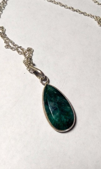Other Green Onyx stone pendant necklace sterling silver A028