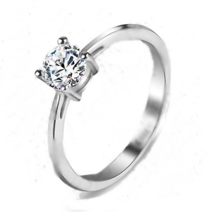 Simple Solitaire White Topaz Engagement Or Promise Ring Free Shipping