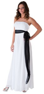 White Chiffon Strapless Long Pleated Bust W/ Sash Formal Wedding Dress Size 12 (L)