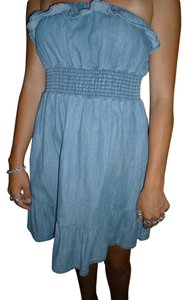 Seven Jeans short dress Chambray Strapless Denim Ruffles on Tradesy